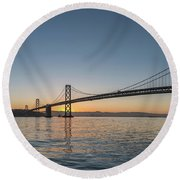 San Francisco Bay Brdige Just Before Sunrise Round Beach Towel