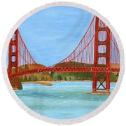 Round Beach Towel featuring the painting San Francisco Bridge  by Magdalena Frohnsdorff