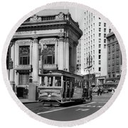 San Francisco Cable Car During Wwii Round Beach Towel