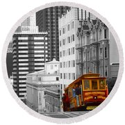 Red Cable Car - San Francisco Highlight Round Beach Towel by Art America Gallery Peter Potter