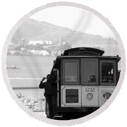 San Francisco Cable Car With Alcatraz Round Beach Towel