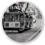 San Francisco Cable Cars Round Beach Towel by Eddie Yerkish