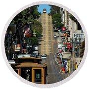 San Francisco Cable Cars Round Beach Towel