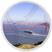 Round Beach Towel featuring the photograph San Francisco - City By The Bay by Art Block Collections