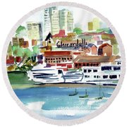 San Francisco Cityfront From Aquatic Park Round Beach Towel