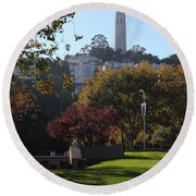 San Francisco Coit Tower At Levis Plaza 5d26217 Square Round Beach Towel