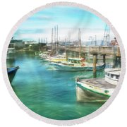 San Francisco Fishing Boats Round Beach Towel