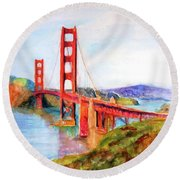 San Francisco Golden Gate Bridge Impressionism Round Beach Towel