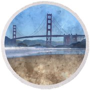 San Francisco Golden Gate Bridge In California Round Beach Towel