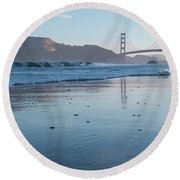 San Francisco Golden Gate Bridge Reflected On Baker's Beach Wet  Round Beach Towel