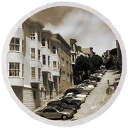 Old San Francisco Photo - Hill Parking Round Beach Towel