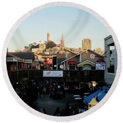 Round Beach Towel featuring the photograph San Francisco In The Sun by Tony Mathews
