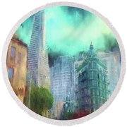 San Francisco Round Beach Towel by Michael Cleere