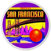 Round Beach Towel featuring the painting San Francisco Oranges by Peter Gumaer Ogden