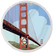 San Francisco Poster  Round Beach Towel