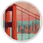 San Francisco Retro Travel Poster Round Beach Towel