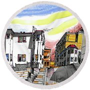 Round Beach Towel featuring the painting San Francisco Side Street by Terry Banderas