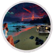 San Francisco Sunrise Round Beach Towel