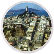 San Francisco - Telegraph Hill And Alcatraz Round Beach Towel