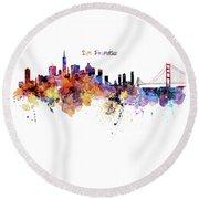 San Francisco Watercolor Skyline Round Beach Towel by Marian Voicu