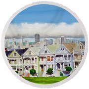 San Francisco's Painted Ladies Round Beach Towel