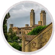Round Beach Towel featuring the photograph San Gimignano by Jean Haynes