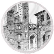 San Gimignano Towers In Italy Pen And Ink Drawing Round Beach Towel