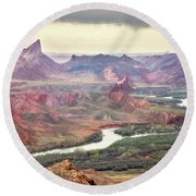 San Juan River And Mule's Ear Round Beach Towel
