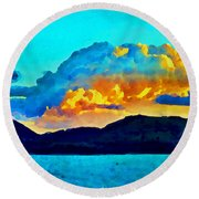 Round Beach Towel featuring the painting San Juan Seascape by Joan Reese