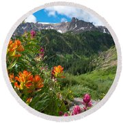 San Juans Indian Paintbrush Landscape Round Beach Towel