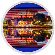 San Mames Stadium At Night With Water Reflections Round Beach Towel