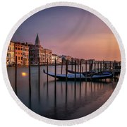 San Marco Campanile With Gondolas At Grand Canal During Calm Sunrise, Venice, Italy, Europe. Round Beach Towel