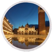 Round Beach Towel featuring the photograph San Marco Twilight by Brian Jannsen
