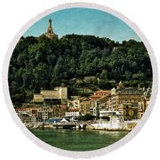 San Sebastian Spain Round Beach Towel by Mary Machare
