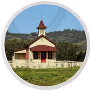 Round Beach Towel featuring the photograph San Simeon - Castle And Schoolhouse by Art Block Collections