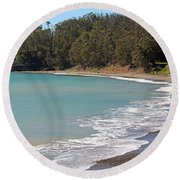 Round Beach Towel featuring the photograph San Simeon Cove by Art Block Collections