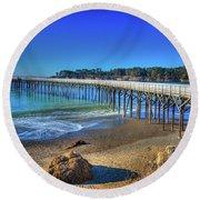San Simeon Pier California Coast Round Beach Towel by James Hammond