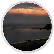San Simeon Sunset 001 Round Beach Towel