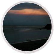 San Simeon Sunset 002 Round Beach Towel