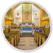 Round Beach Towel featuring the photograph Sanctuary At Easter by Nick Zelinsky