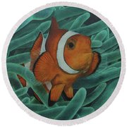 Round Beach Towel featuring the painting Sanctuary by Jennifer Watson