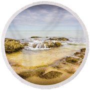 Round Beach Towel featuring the photograph Sand And Rocks by Gary Gillette