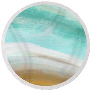 Sand And Saltwater- Abstract Art By Linda Woods Round Beach Towel