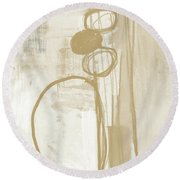 Sand And Stone 2- Contemporary Abstract Art By Linda Woods Round Beach Towel