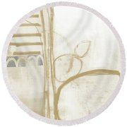 Sand And Stone 3- Contemporary Abstract Art By Linda Woods Round Beach Towel