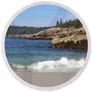 Round Beach Towel featuring the photograph Sand Beach Acadia by Living Color Photography Lorraine Lynch