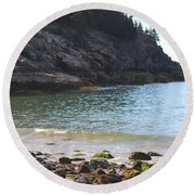Round Beach Towel featuring the photograph Sand Beach At Acadia by Living Color Photography Lorraine Lynch