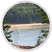 Round Beach Towel featuring the photograph Sand Beach From A Distance by Living Color Photography Lorraine Lynch