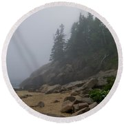 Sand Beach In A Fog Round Beach Towel