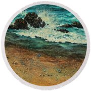 Round Beach Towel featuring the painting Sand Crabs by Darice Machel McGuire